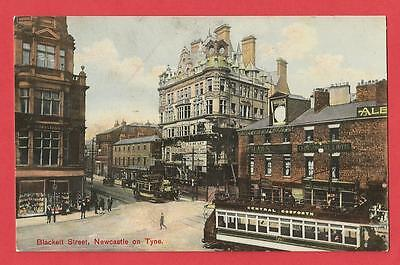 Old Postcard  BLACKETT STREET   Newcastle   Northumberland   Open-topped trams