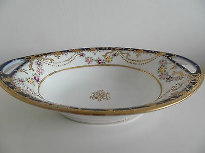 Noritake Heavily Gilded Oval  Two Handled Floral  Bowl