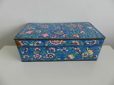 Chinese Canton Blue Enamel On Copper Lidded Box Floral Butterflies