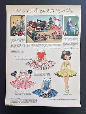 Vintage Betsy McCall Mag. Paper Dolls, Betsy McCall at Flower Show, March 1956