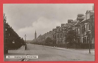 Old REAL PHOTOGRAPH  Postcard   BRIGHTON GROVE   Newcastle  Northumberland  1909