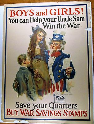 ORIGINAL WW1 Poster By James Montgomery Flagg Uncle Sam Buy War Savings Stamps