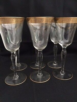 6 Gold Rimmed Wine Glasses,  6 Oz....8 Inches Tall