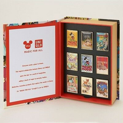 Japan UNIQLO Disney Poster Pins - Complete 9 Pin Set Including LE 500 Mickey Pin