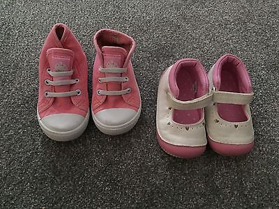 Baby Girls Shoes X 2. Size 4. White & Pink Walkers & Pink High Top Pumps