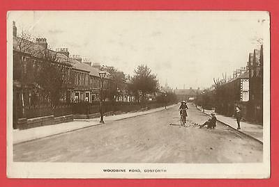 Old REAL PHOTO Postcard  WOODBINE ROAD  GOSFORTH  Newcastle  Northumberland 1918