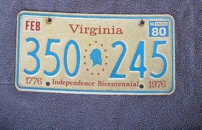 1980 VIRGINIA Bicentennial License Plate