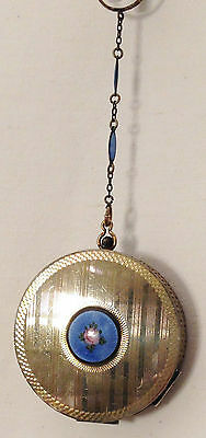 silver & gold tones w/ BLUE guilloche disc finger ring compact-purse early 1900s