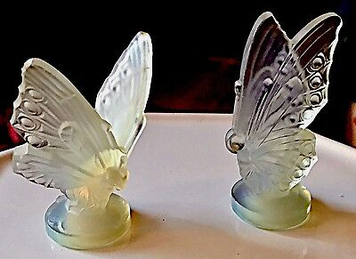 Set Of Two   🦋🦋  Sabino France Opalescent Art Glass French Butterfly Figurines