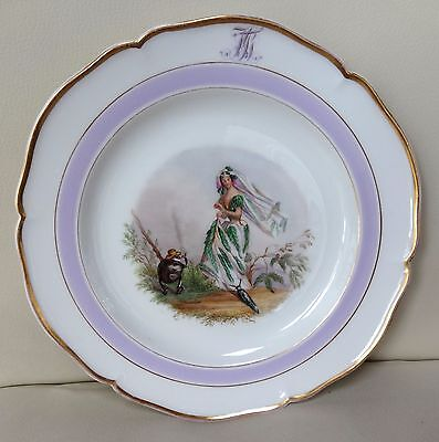 Beautiful Hand Painted KPM Berlin Porcelain Botanical Monogram Plate