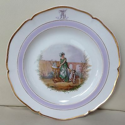 Beautiful Hand Painted KPM Berlin Porcelain Botanical Monogram Plate - Hemlock