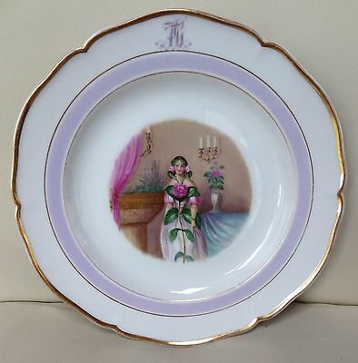 Beautiful Hand Painted KPM Berlin Porcelain Botanical Monogram Plate - Camellia