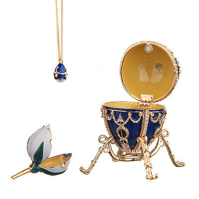 Faberge Egg with Arrows Trinket Jewel Box with Flower & Pendant 3.2'' 8.2cm blue