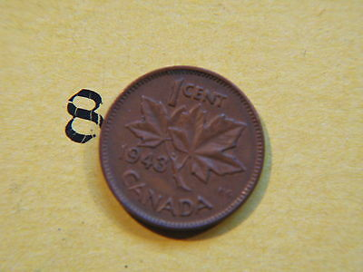 1943 Canada Canadian Small 1c (One) Cent Coin,  Penny