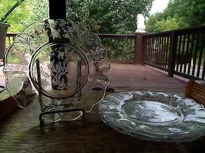 "Set (4) Salad luncheon Plates 8.5"" Crystal Glass etched Fostoria Chintz Baroque"