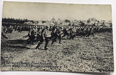 German Charge Fixed Bayonets American Front Lines WW1 Chi Daily News Postcard