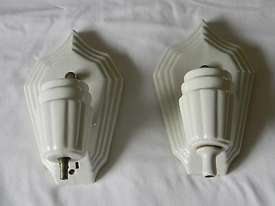 Pair Of Vintage Efcolite Durock Porcelain Wall Sconces Light Lamp Fixture 1920's