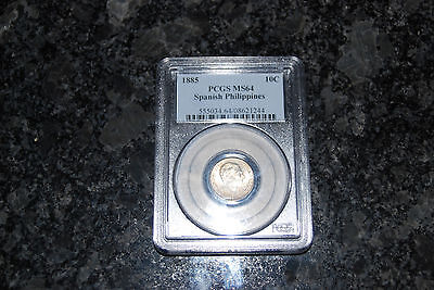 Spanish Philippines 1885 10 Cent. Silver MS 64 PCGS  Scarce Coin! NOW 1/2 PRICE!