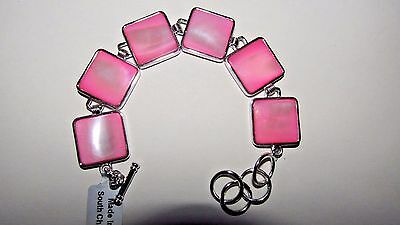 Pink Mother Of Pearl 925 Sterling Silver Bracelet New With Tags & Certificate