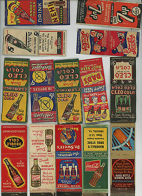 19 Vintage Soda Matchbook Covers: Coke, Pepsi, 7UP, Nehi, Cleo and more