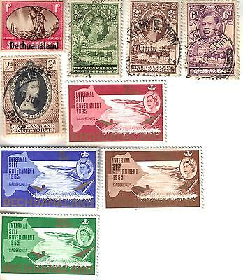 9 different older used stamps from Bechuanaland Protectorate