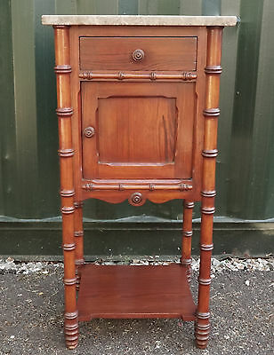 Antique French Bedside Cabinet / Pot Cupboard With Marble Top
