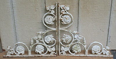 "Pair Vintage Cast Iron Brackets 14"" Corbels Rose Motif Architectural Salvage #1"