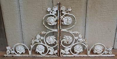 "Pair Vintage Cast Iron Brackets 14"" Corbels Rose Motif Architectural Salvage #2"