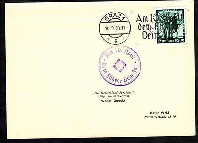 III. german empire, 3rd reich, used Post card 10 April 1933