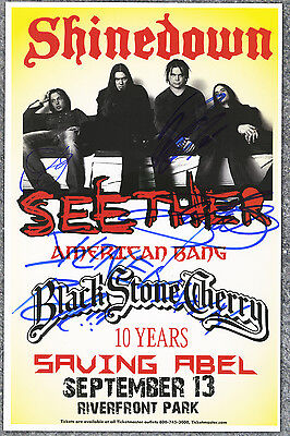 Shinedown Brent Smith, Barry Kerch, Zach Myers  autographed concert poster 2010