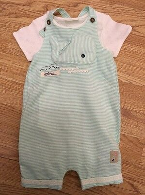 Next Baby Girls 3d Whale Dungarees & Bodysuit Set 0-3 Months Bnwot