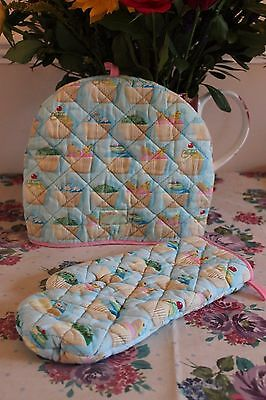 Rexinter Tea Time collection cupcake oven glove and tea cosy set