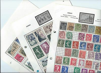 France stamps. 3 pages of unchecked used stamps.Variable condition. (Z527)