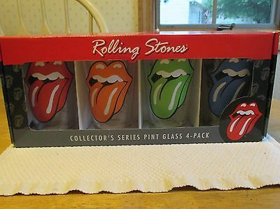 Rolling Stones Collector's Series Pint Glass 4-Pack. Tongue Logo. Nip (8529)