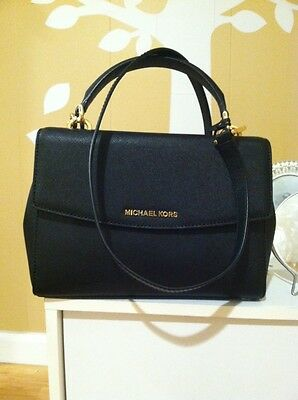 Michael Kors Ava Small Black Saffiano Leather Satchel Handbag