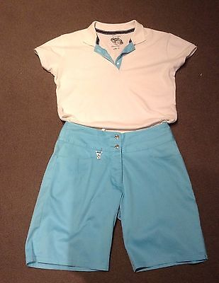 ladies  lovely green lamb turquoise and white golf top and shorts size 12