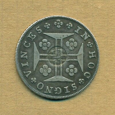PORTUGUESE AZORES - GP Countermark on 1800 Silver Cruzado VF