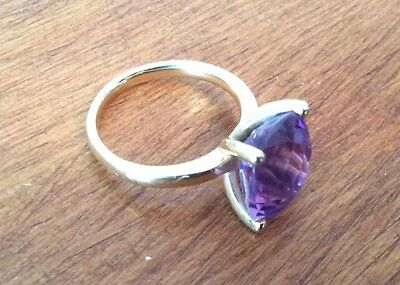 Gorgeous Substantial 18CT GOLD AMETHYST RING, HALLMARKED - SIZE N