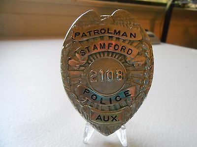 Circa 1930s Obsolete Auxiliary Police Patrolman Stamford Connecticut Badge #11