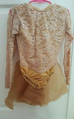 Custom Lyrical Dance Costume Girls Gold Made with Swarovski Rhinestones