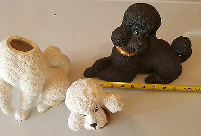 2 VINTAGE FIGURINES WHITE BLACK FRENCH POODLE DOG food collars