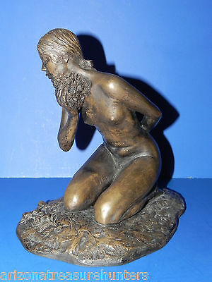 """Nude Woman Kneeling Metal Statue by Michael Stelzer 8 1/2"""" Tall on 6"""" x 9"""" base"""