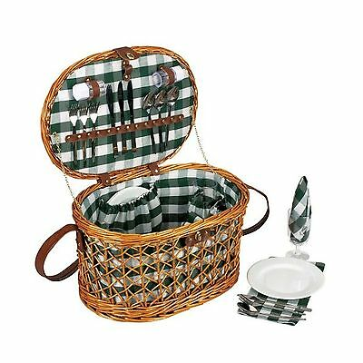 Household Essentials Woven Willow Picnic Basket Oval Shaped Fully Lined Servi...