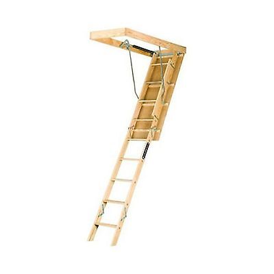 Louisville Ladder L224P Duty Rating Wooden Attic Ladder Fits 8-Foot 9-Inch to...