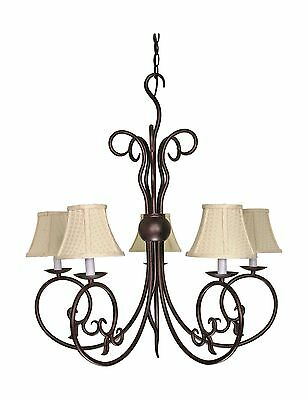 Nuvo Lighting 60/040 5 Light Chandelier with Linen Waffle Shades 5Lt Chandelier