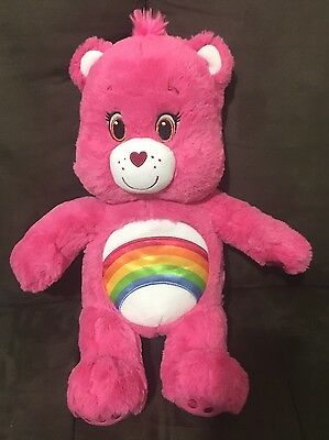 Build A Bear Care Bear Pink Rainbow 45cm Rare Cheer Bear