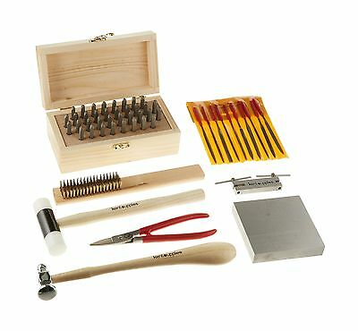 Kent Supplies Metal Stamping Tool Kit with Alphanumeric Stamps and Assorted T...