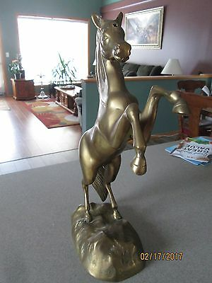 "Vintage Large Brass Rearing Stallion Horse Statue Figurine 15"" Tall"