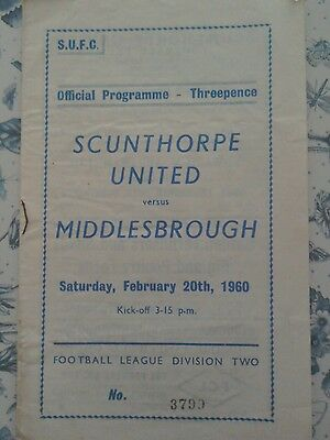 Scunthorpe United V Middlesbrough  programme  1960