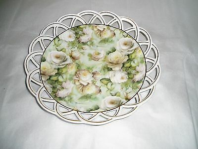 ceramic platter Skye McGhie Antique Rose porcelain open weave platter